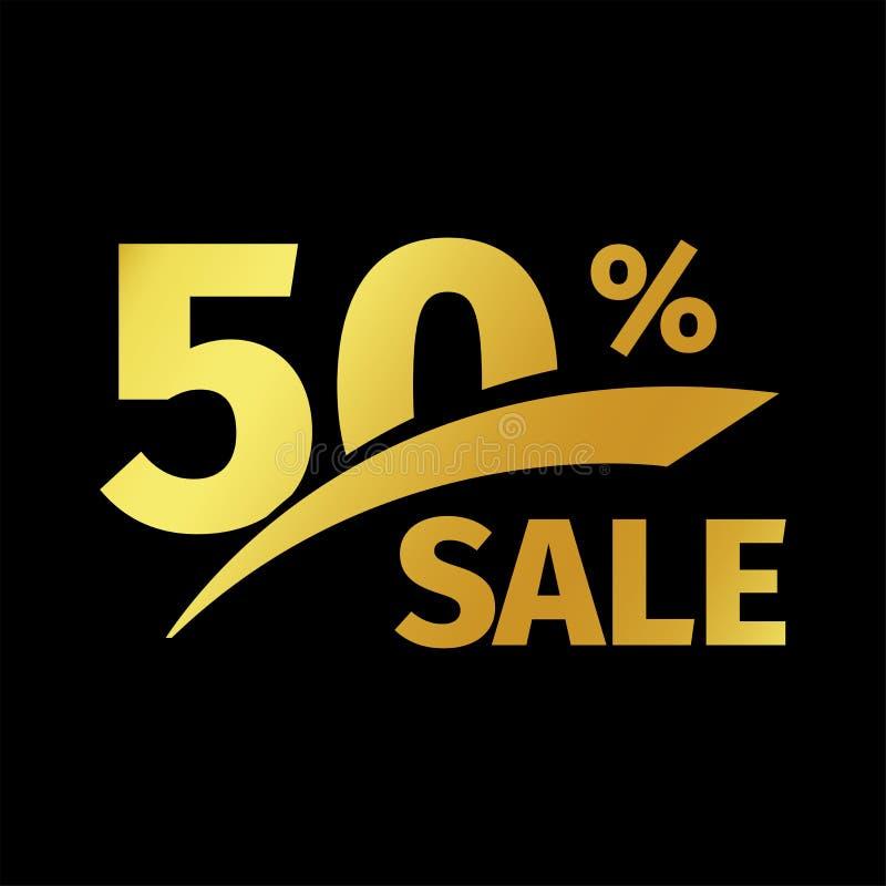 Svart banerrabattköp guld- logo för 50 procent försäljningsvektor på en svart bakgrund Befordrings- affärserbjudande för royaltyfri illustrationer
