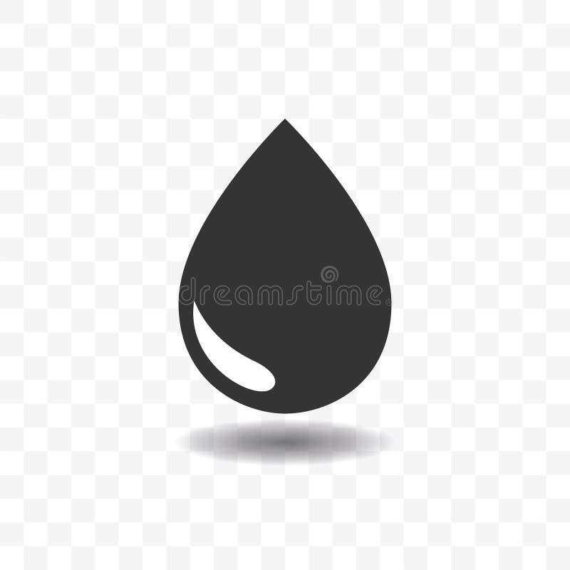 Svart begrepp för dropp- eller regnsymbolsdesign stock illustrationer