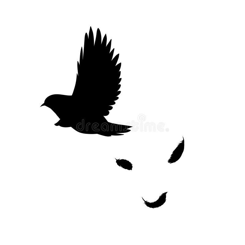 Svart begrepp för kontur för flygfågel royaltyfri illustrationer