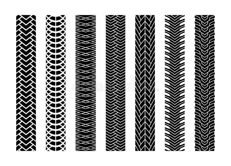Svart bil för gummihjulspårhjul eller transportuppsättning på vägtexturmodellen för bil Vektorillustration av spåret royaltyfri illustrationer