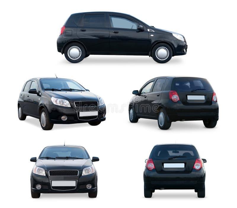 Svart bil för olika vinklar som isoleras på vit bakgrund royaltyfria foton