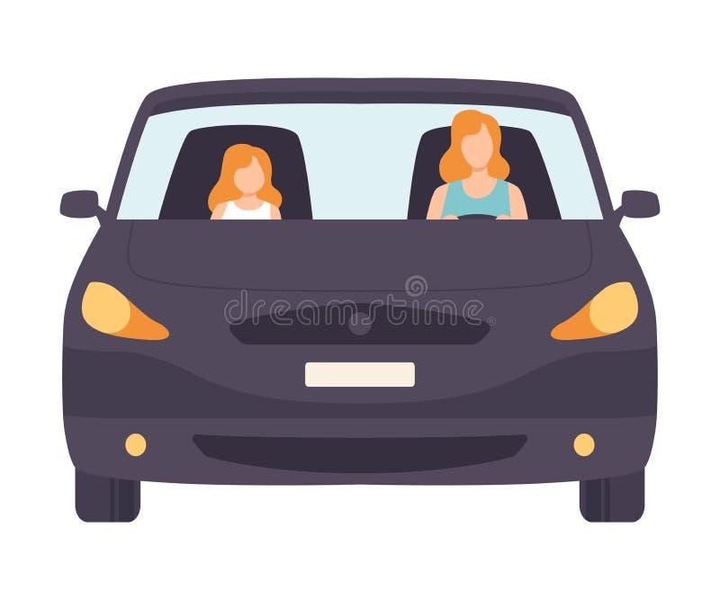 Svart bil med den kvinnliga chauffören och passageraren, Front View Vector Illustration royaltyfri illustrationer