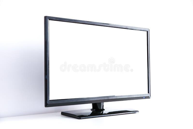 Svart bildskärm med den vita tomma skärmen på vit bakgrund royaltyfria bilder