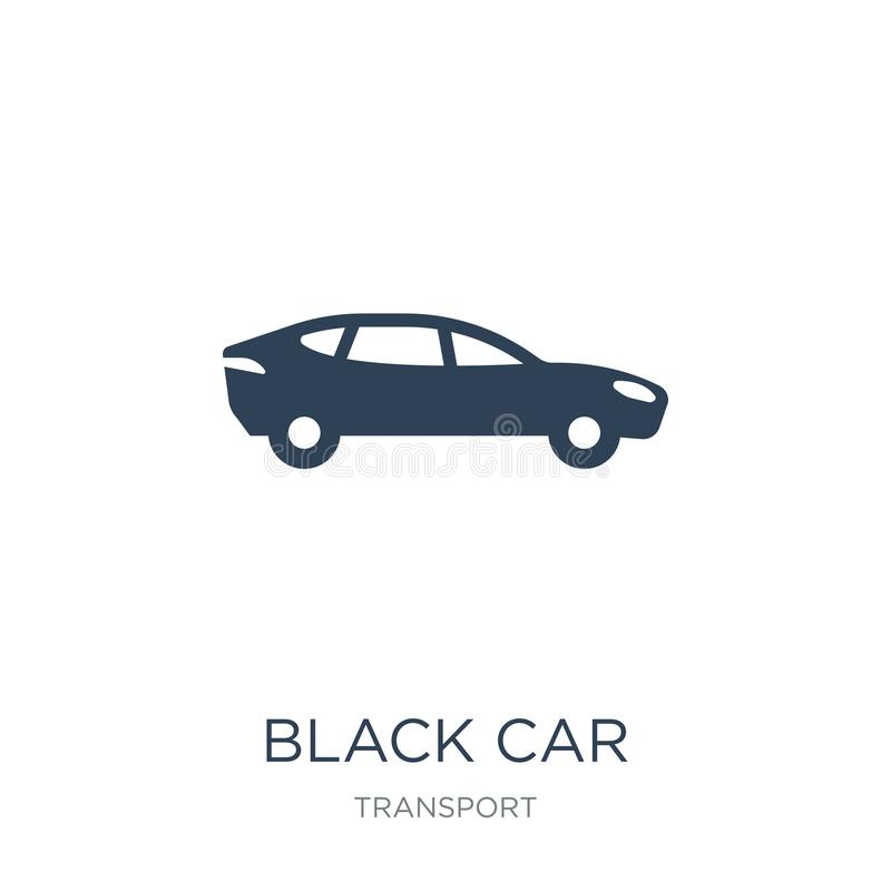 svart bilsymbol i moderiktig designstil Svart bilsymbol som isoleras på vit bakgrund enkel och modern lägenhet för svart bilvekto stock illustrationer