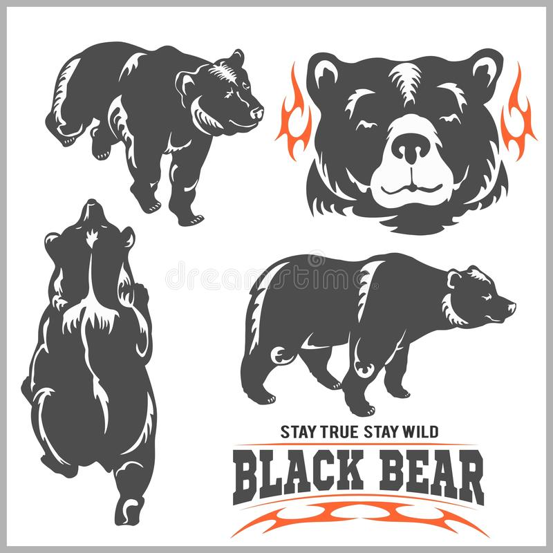 Svart björn för logo, emblem för sportlag, designbeståndsdelar och etiketter royaltyfri illustrationer