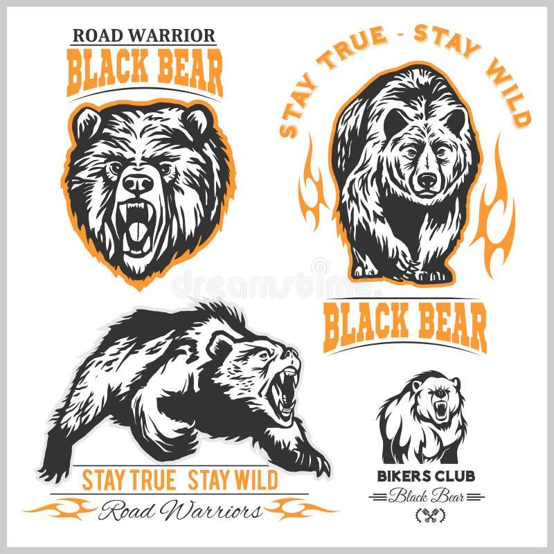 Svart björn för logo, emblem för sportlag, designbeståndsdelar och etiketter stock illustrationer