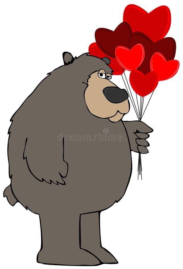 Svart björn som rymmer hjärtaballonger royaltyfri illustrationer