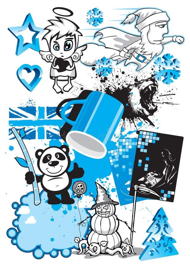 svart blå designmixvektor royaltyfri illustrationer