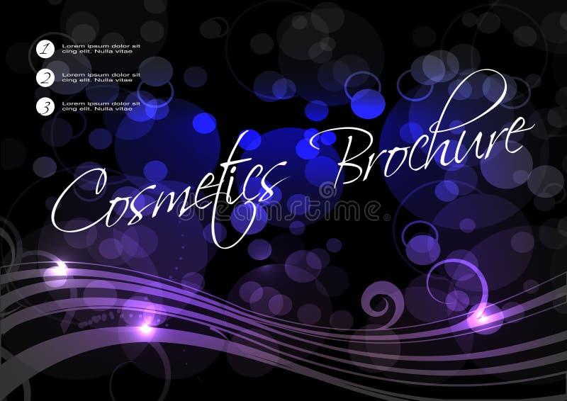 Svart blå purpurfärgad bakgrund med vågen, spiralen och cirkeln planlägger för kosmetisk broschyr stock illustrationer