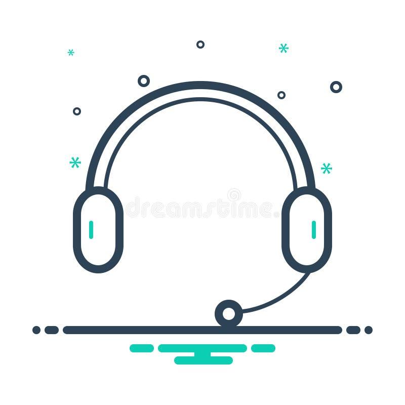 Svart blandningsymbol för Headphone, hörlur och mikrofon royaltyfri illustrationer