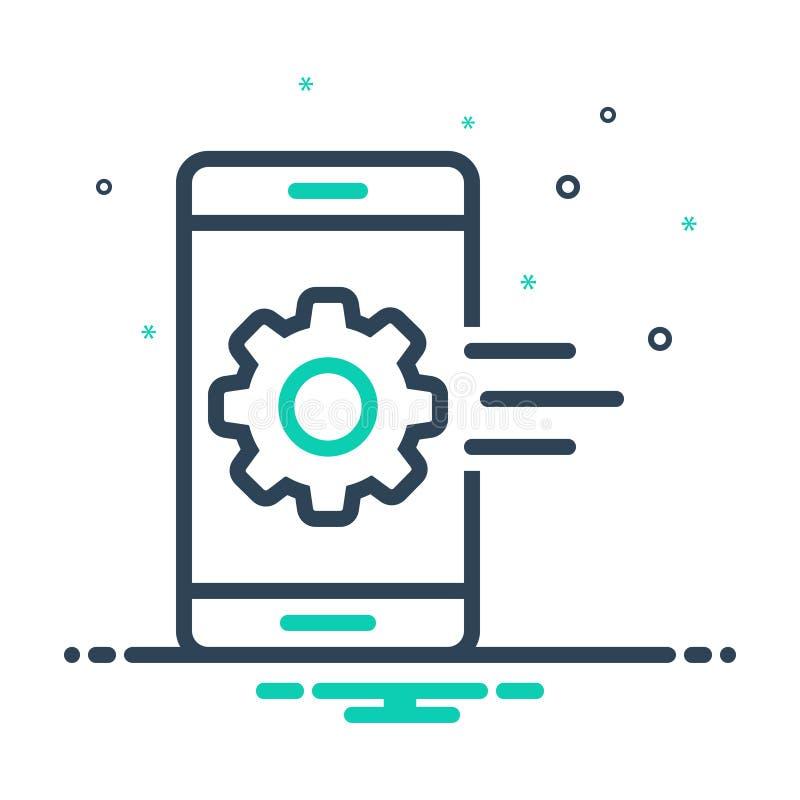 Svart blandningsymbol för mobil app, inställning och utveckling royaltyfri illustrationer