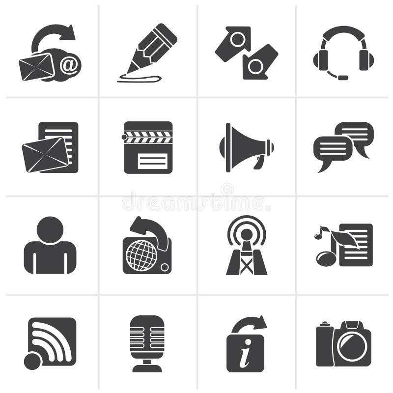 Svart Blogging, kommunikation och sociala nätverkssymboler vektor illustrationer