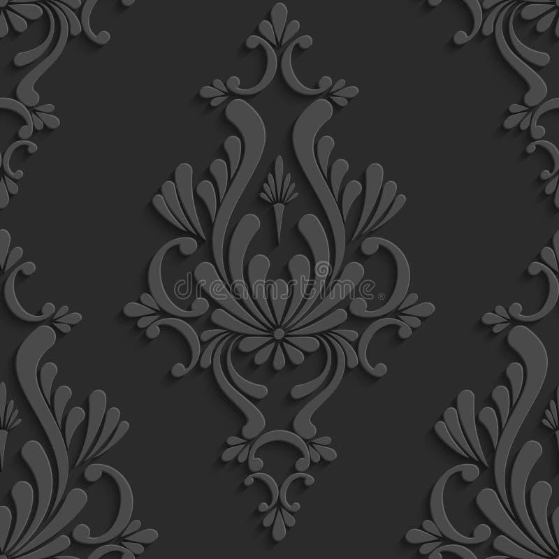 Svart blom- damast sömlös modell 3d stock illustrationer