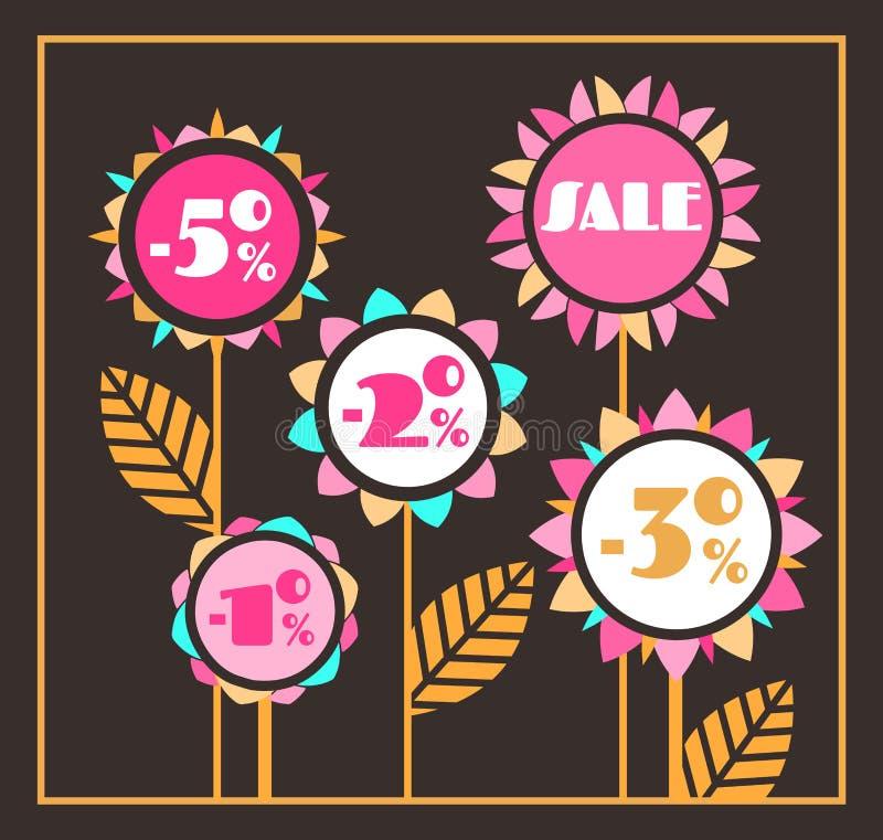 Svart blom- försäljningsbakgrund med ljusa solrosor på stjälk royaltyfri illustrationer