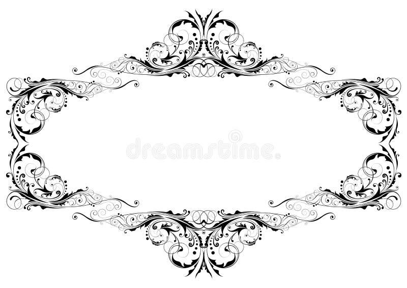 svart blom- ram stock illustrationer