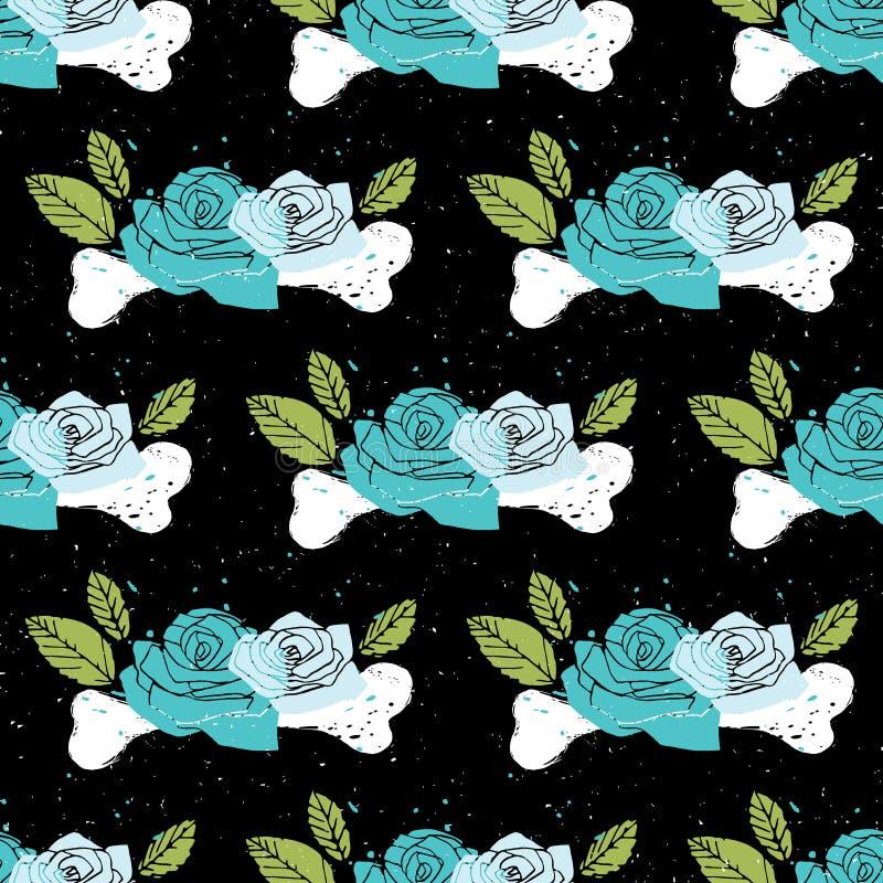 Svart blom- sömlös fasabakgrund vektor illustrationer