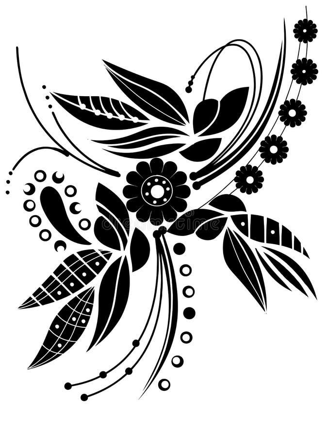 svart blom- vektor royaltyfri illustrationer