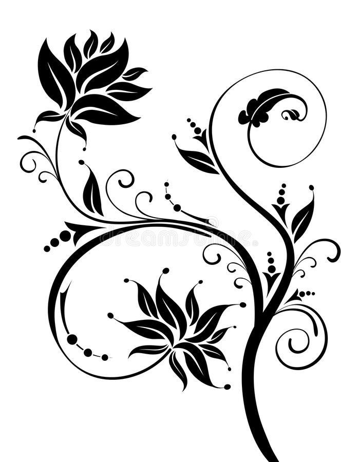 svart blommamodell stock illustrationer