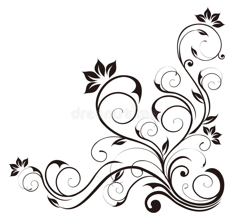 svart blommamodell royaltyfri illustrationer