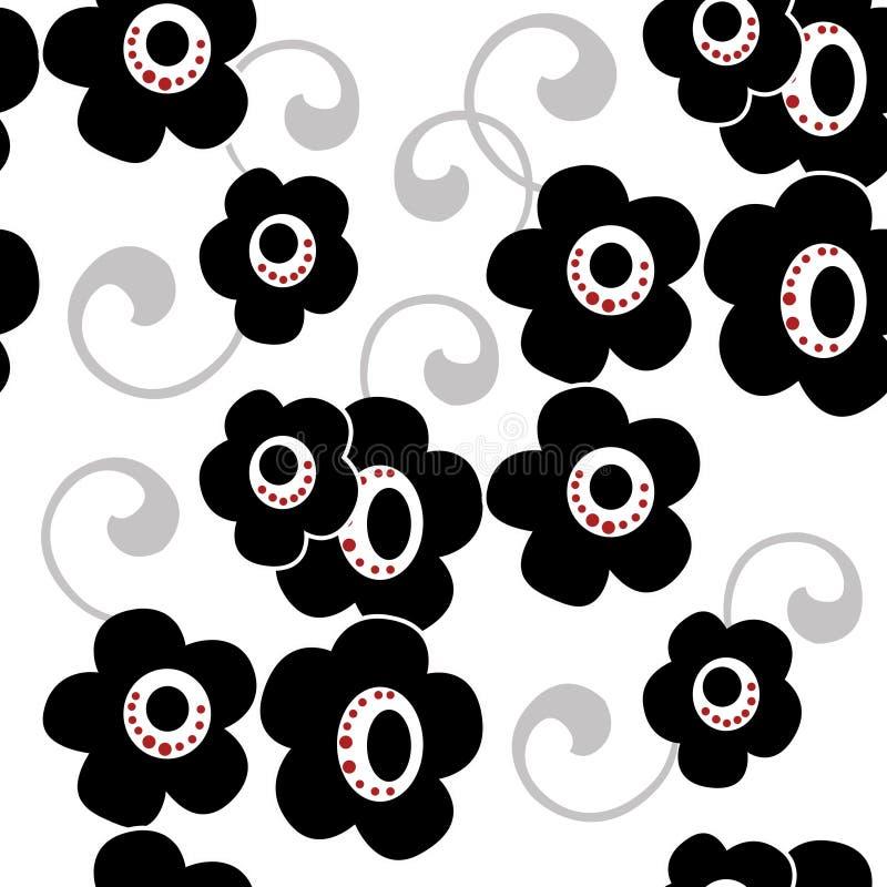 Svart blommar på vit bakgrund som blom- sömlösa dekorativa klappar stock illustrationer