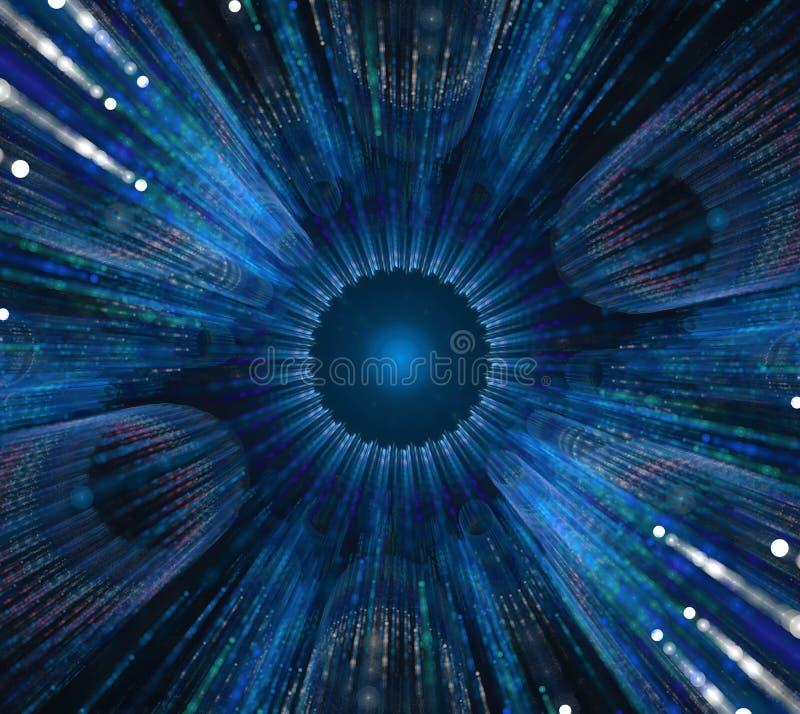 svart blue för bakgrund Turkoscirkel eller stjärna med radiellt royaltyfri illustrationer