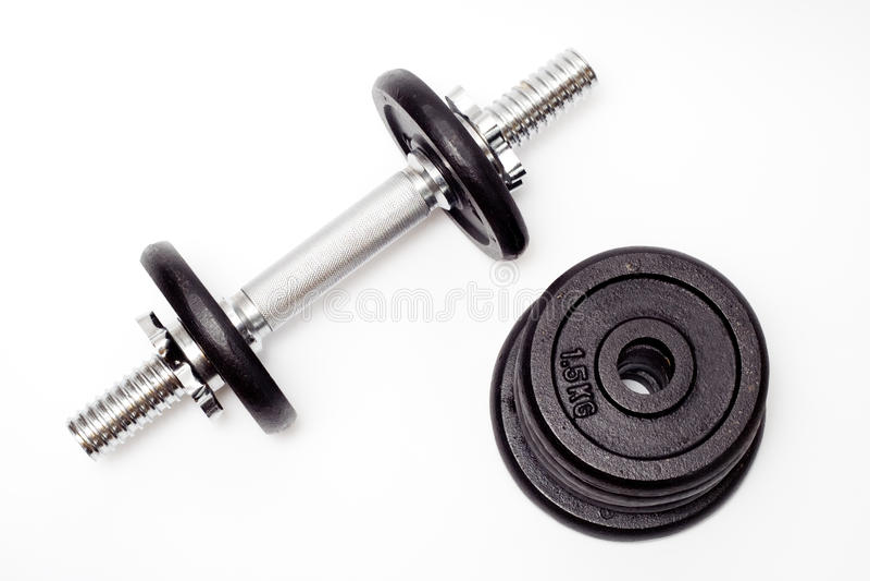 svart bodybuildinghantelutrustning royaltyfria foton