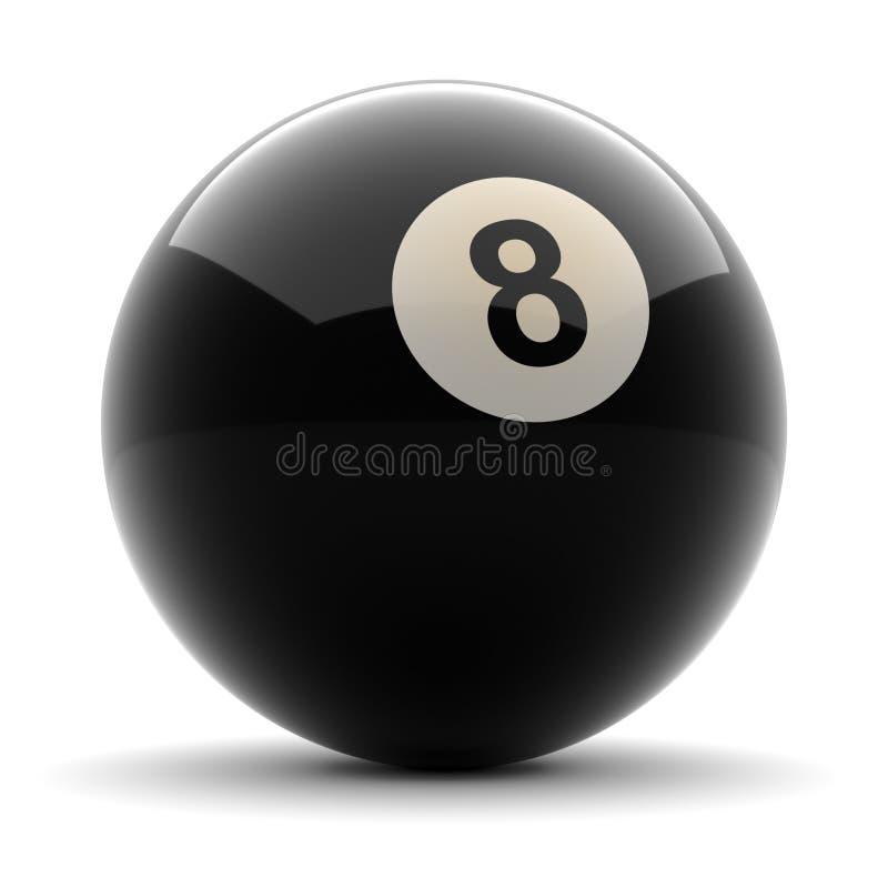 Svart boll nummer åtta för pöl vektor illustrationer