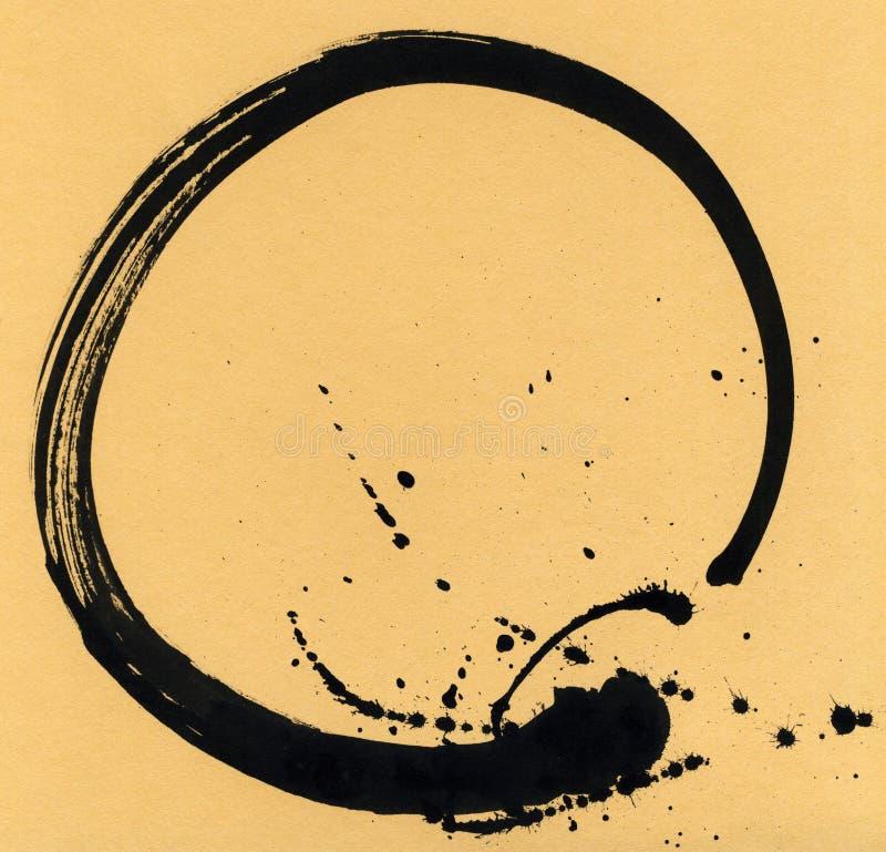 Svart borsteslaglängd i form av en cirkel Teckningen som skapas i färgpulver, skissar handgjord teknik bakgrund isolerad white vektor illustrationer
