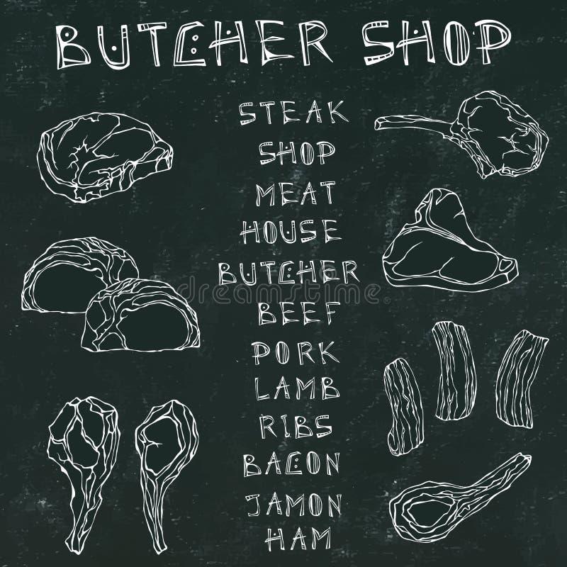 Svart brädebakgrund Köttuppsättning med bokstäver Stekhus eller slaktare Shop eller restaurangmeny Lamm griskött, stöd, bacon Han stock illustrationer