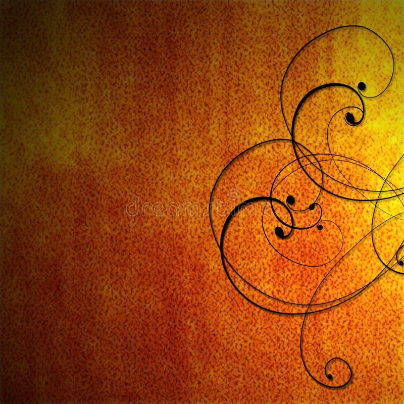 svart brännhet orange scrollwork för bakgrund vektor illustrationer