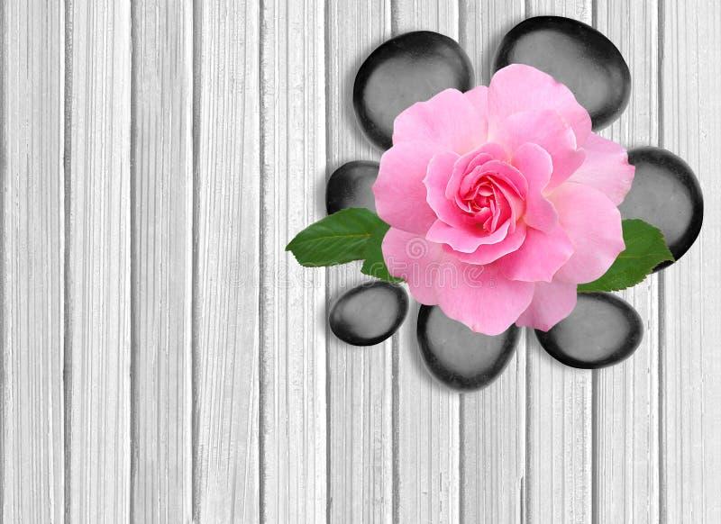 Svart brunnsortsten- och rosa färgros på den vita trätabellen arkivbild