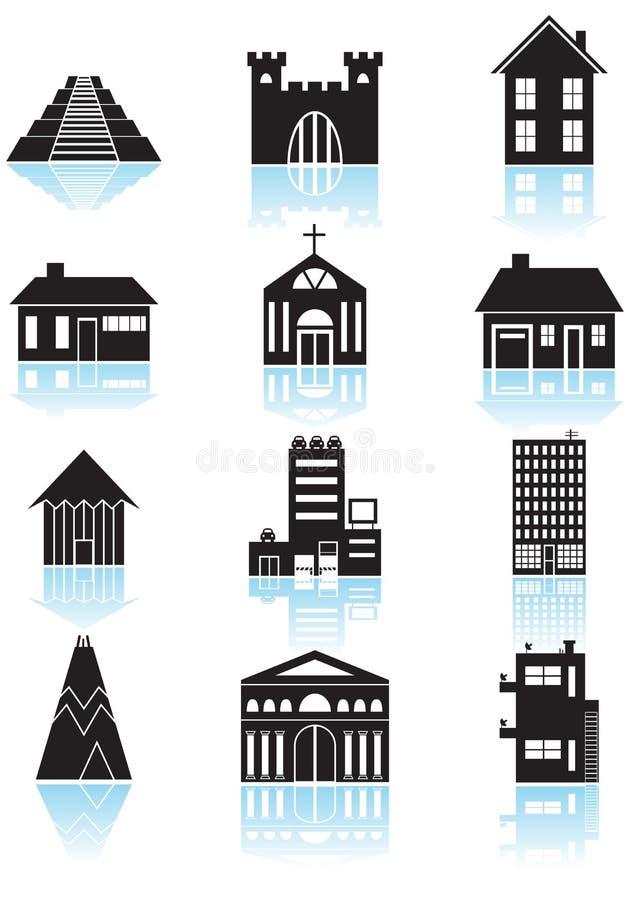 svart byggnad buttons white stock illustrationer