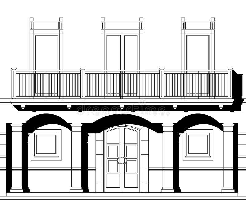 svart CAD-teckningswhite vektor illustrationer