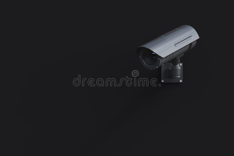 Svart CCTV-kamera på en svart vägg royaltyfri illustrationer