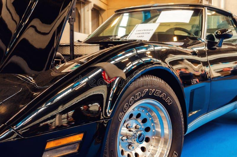 Svart Chevrolet Corvette 1980 arkivbilder