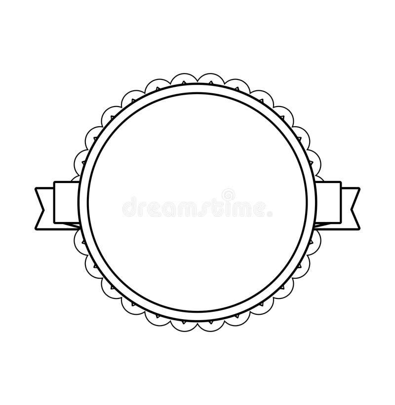 Svart cirkeletikett med den spets- gränsen royaltyfri illustrationer