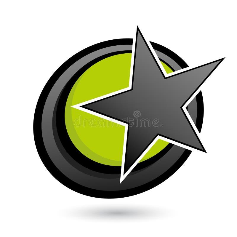 svart cirkelgreenstjärna stock illustrationer