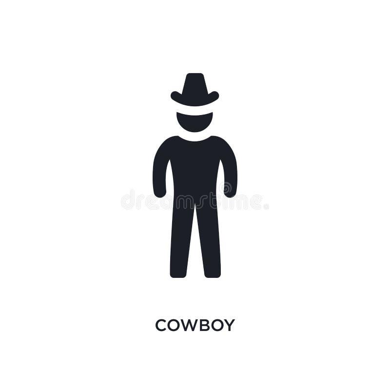 svart cowboy isolerad vektorsymbol enkel best?ndsdelillustration fr?n symboler f?r F?renta staterna begreppsvektor redigerbar log royaltyfri illustrationer