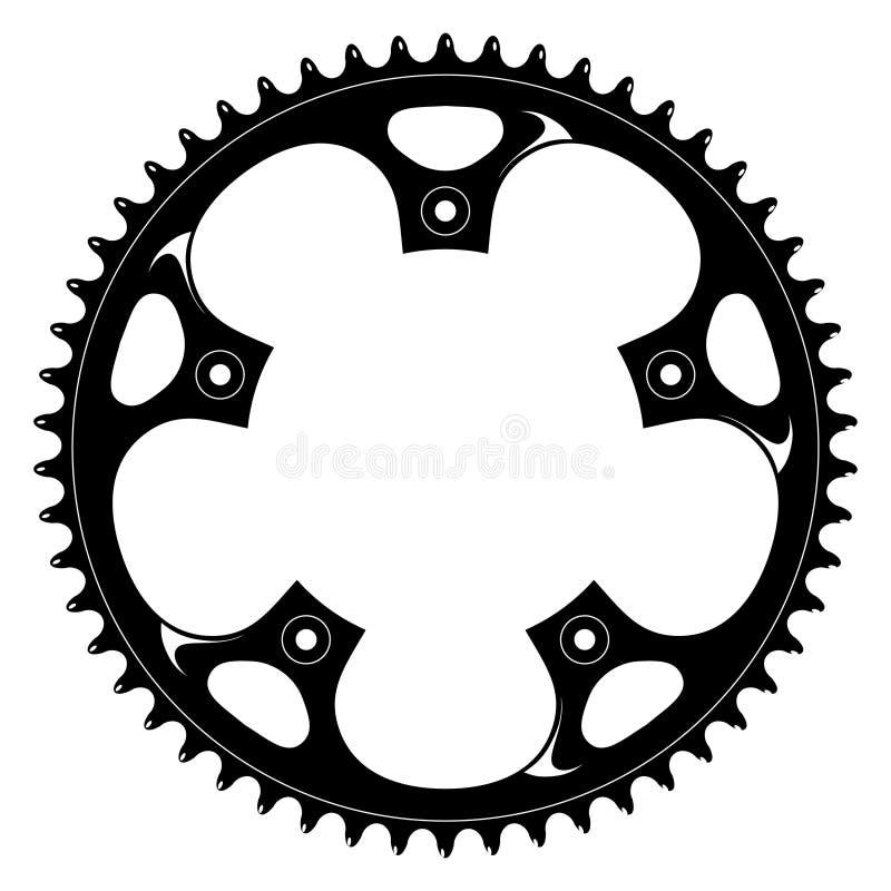 svart crank teckningsvektor för cykel royaltyfri illustrationer
