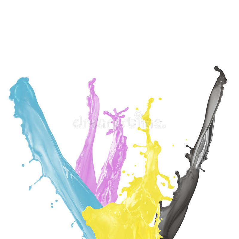 svart cyan magentafärgad målarfärgfärgstänkyellow arkivfoto