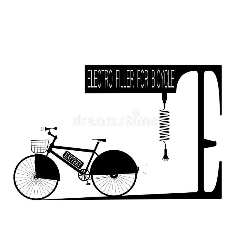 Svart cykel med batteriet och electro-utfyllnadsgodset som att parkera med inskriften - vektorillustration royaltyfri illustrationer