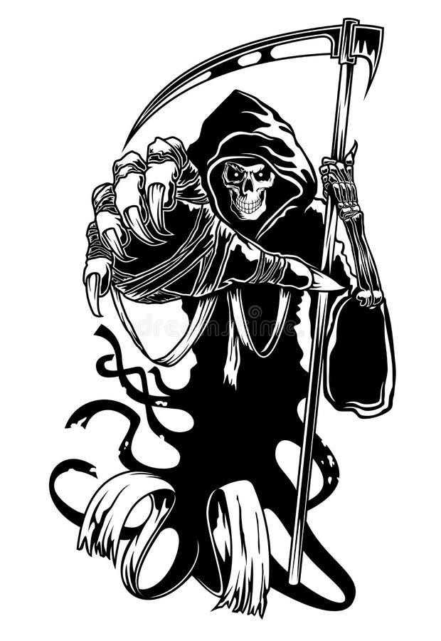 Svart död med scythen vektor illustrationer