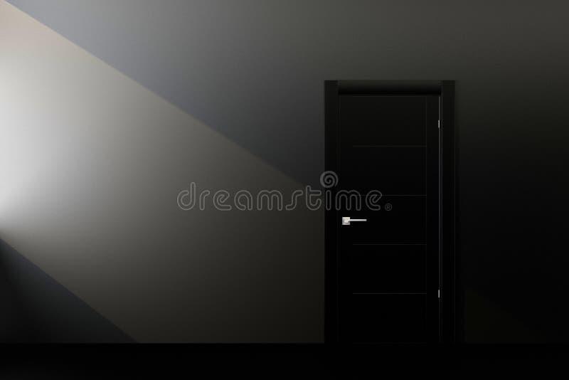 Svart dörr i svart vägg royaltyfri illustrationer