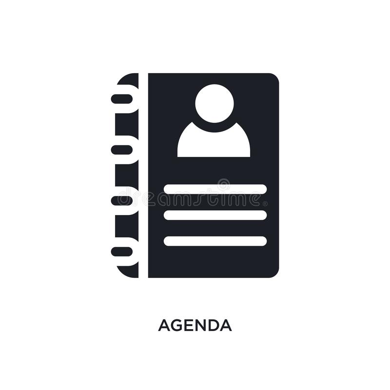 svart dagordning isolerad vektorsymbol enkel beståndsdelillustration från symboler för hotellbegreppsvektor för logosymbol för da royaltyfri illustrationer