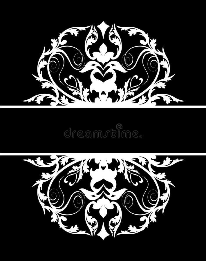 svart damastast white för baner stock illustrationer