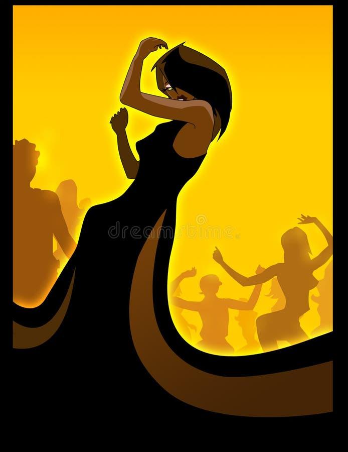 svart dansdiva royaltyfri illustrationer