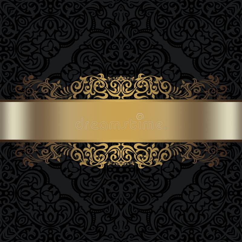 Svart dekorativ bakgrund med den guld- gränsen royaltyfri illustrationer