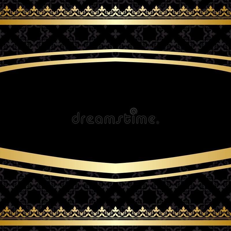 Svart dekorativ bakgrund med guld- garneringar royaltyfri illustrationer