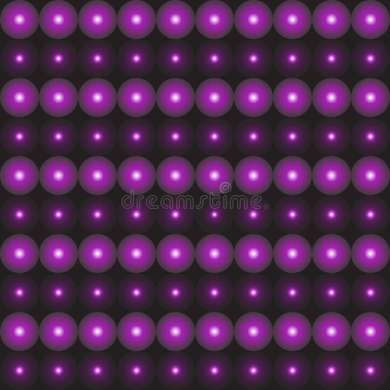 Svart dekorativ bakgrund med purpurfärgade bollar 3D royaltyfri illustrationer