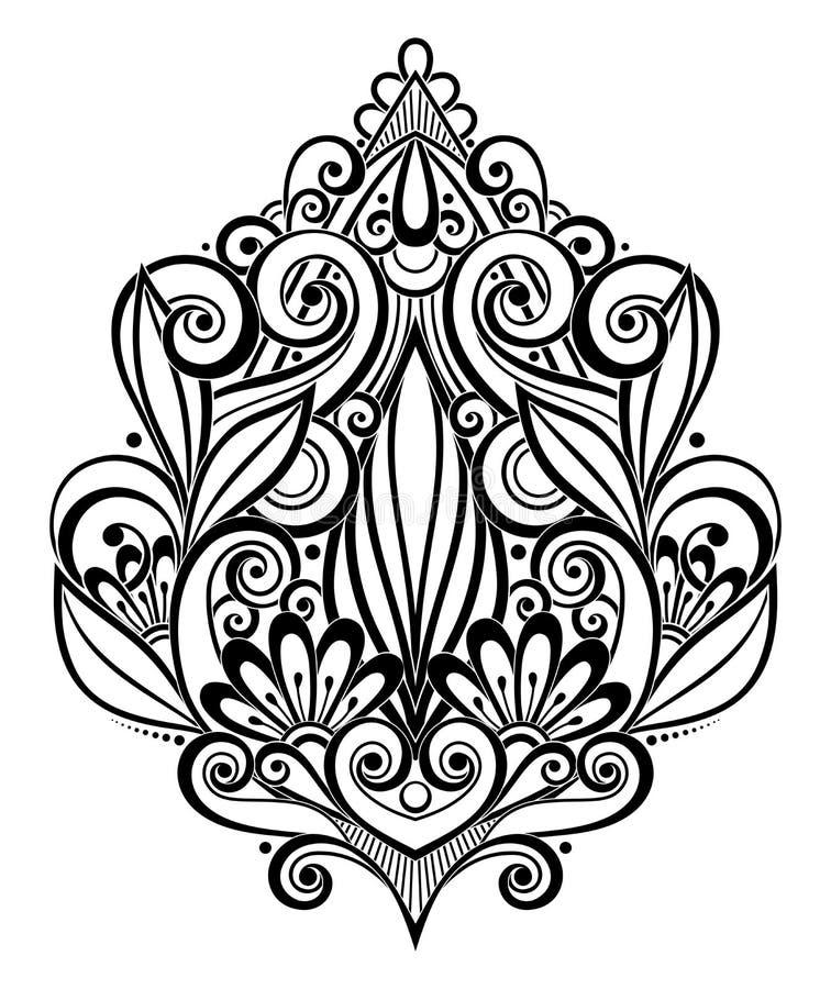 Svart dekorativ beståndsdel för vektor i klotterstil med lotten av virvlar royaltyfri illustrationer